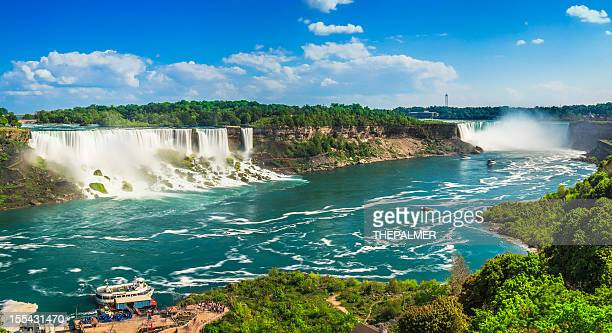niagara falls panorama - niagara falls stock pictures, royalty-free photos & images