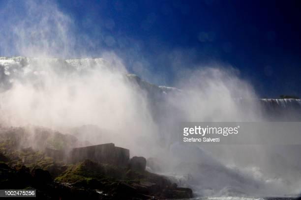 USA, NY, Niagara falls, rocks and falls USA side from tourboat
