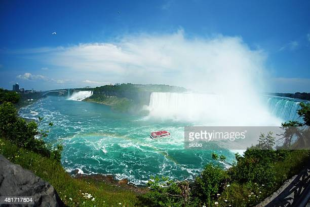 niagara falls wide angle view - niagara falls stock pictures, royalty-free photos & images