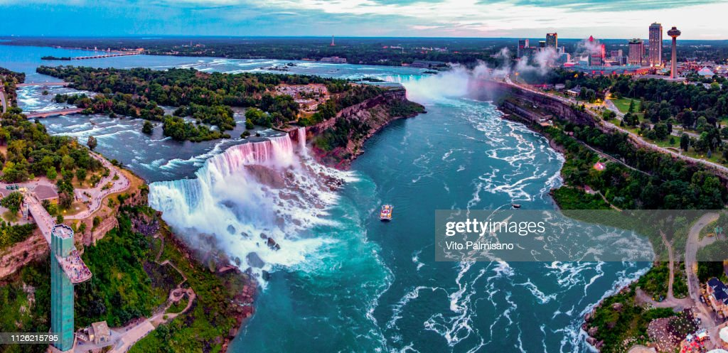 Niagara Falls,NY Aerial Panoramic : Stock Photo