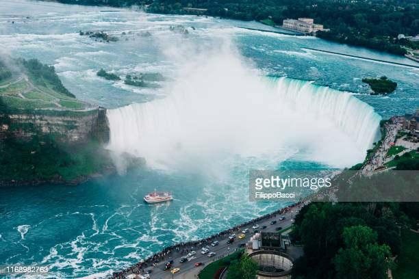 niagara horseshoe falls from aerial point of view - niagara river stock pictures, royalty-free photos & images