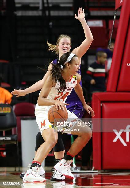Niagara Purple Eagles forward Kaylee Stroemple guards Maryland Terrapins forward Stephanie Jones during a women's college basketball game between the...