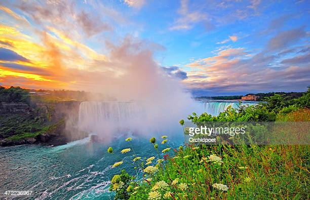 niagara sunrise - niagara falls stock pictures, royalty-free photos & images
