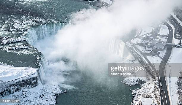 Niagra Horseshoe Falls from above in Winter