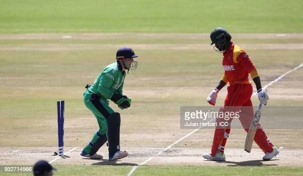 Nial O'Brien of Ireland celebates the wicket of Solomon Mire of Zimbabwe during The ICC Cricket World Cup Qualifier between Ireland and Zimbabwe at...