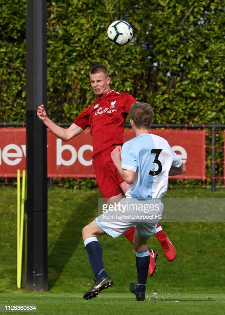 Niall Brookwell of Liverpool and Jake Garrett of Blackburn Rovers in action during the U18 Premier League game at The Kirkby Academy on March 2 2019...