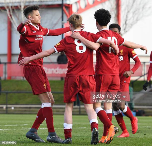 Niall Brookwell of Liverpool celebrates his goal with team mates Rhys Williams Curtis Jones and Abdi Sharif during the Liverpool v Middlesbrough U18...