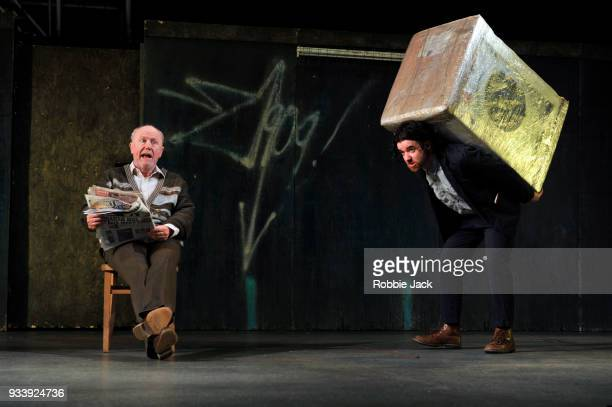 Niall Buggy as Peter Flynn and Ciaran O' Brien as The Young Covey in the Abbey Theatre's production of Sean O' Casey's The Plough and the Stars...
