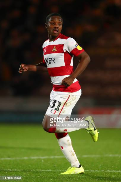 Niall Ennis of Doncaster Rovers during the Leasingcom Trophy match fixture between Doncaster Rovers and Manchester United U21's at Keepmoat Stadium...