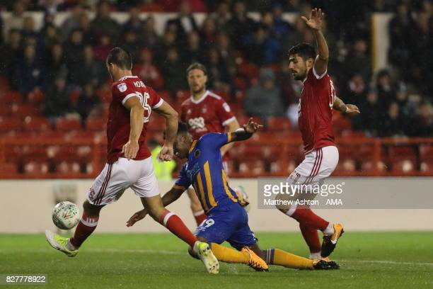 Niall Ennis of Shrewsbury Town gets fouled to earn a penalty during the Carabao Cup First Round match between Nottingham Forest and Shrewsbury Town...