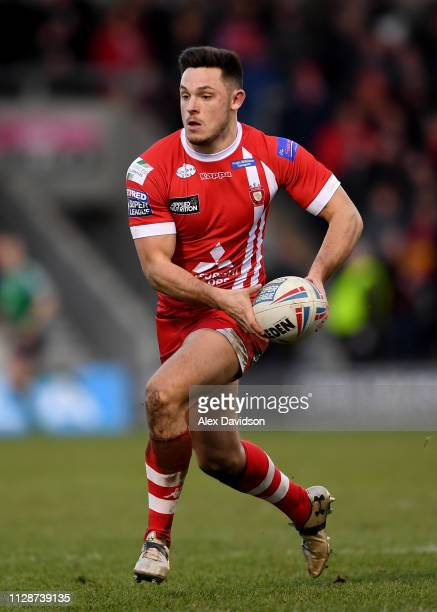 Niall Evalds of Salford Red Devils in action during the Betfred Super League match between Salford Red Devils and London Broncos at AJ Bell Stadium...