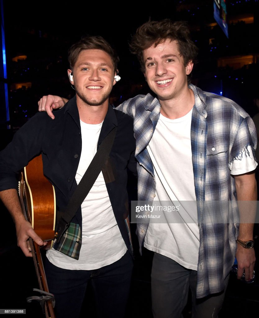 Niall Horan (L) and Charlie Puth are seen backstage at 106.1 KISS FM's Jingle Ball 2017 Presented by Capital One at American Airlines Center on November 28, 2017 in Dallas, Texas.