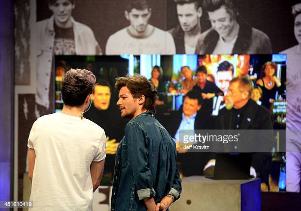 Niall Horan and Louis Tomlinson on set during One Direction celebrates 1D Day at YouTube Space LA a 7hour livestream event broadcast exclusively on...