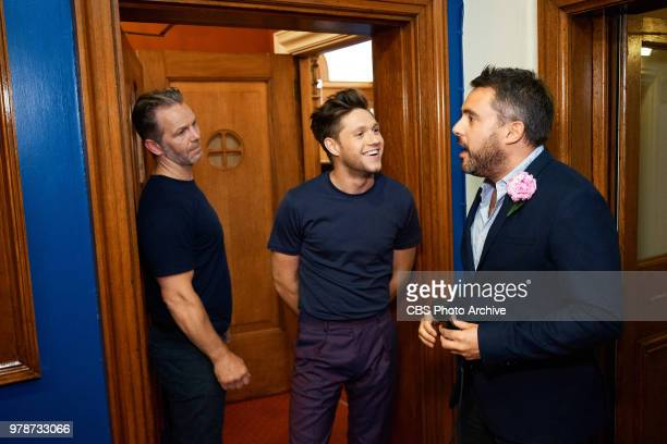 Niall Horan and Louis Waymouth perform a sketch on The Late Late Show with James Corden in London airing Monday June 18 with guests Cate Blanchett...