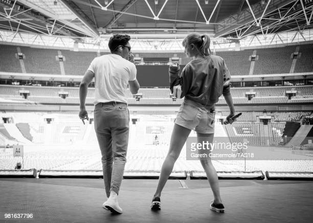 Niall Horan and Taylor Swift during rehearsals ahead of the reputation Stadium Tour at Wembley Stadium on June 22 2018 in London England