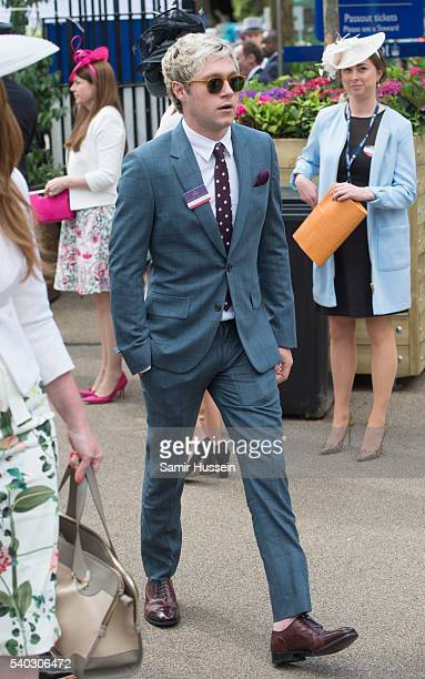 Niall Horan arrives for day 2 of Royal Ascot at Ascot Racecourse on June 8 2016 in Ascot England