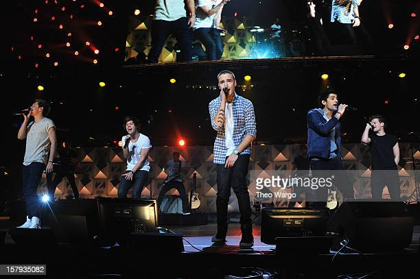 Niall Horan Harry Styles Liam Payne Zayn Malik and Louis Tomlinson perform onstage during Z100's Jingle Ball 2012 presented by Aeropostale at Madison...