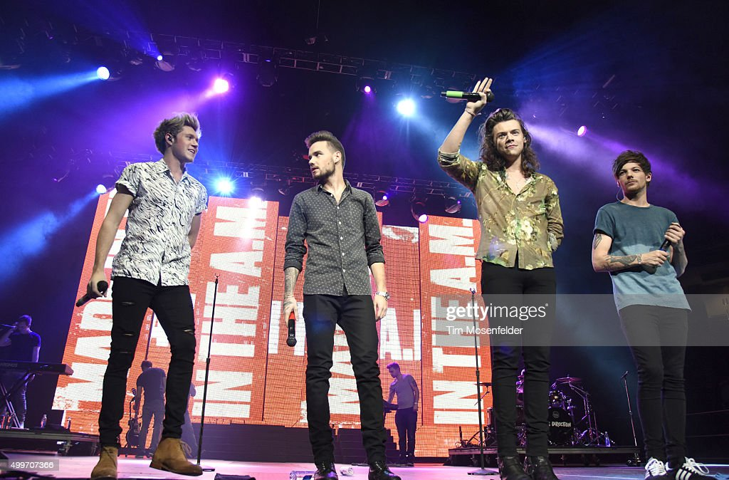 Niall Horan, Liam Payne, Harry Styles, and Louis Tomlinson of One Direction perform during 99.7 NOW! Triple Ho Show 6.0 at SAP Center on December 2, 2015 in San Jose, California.