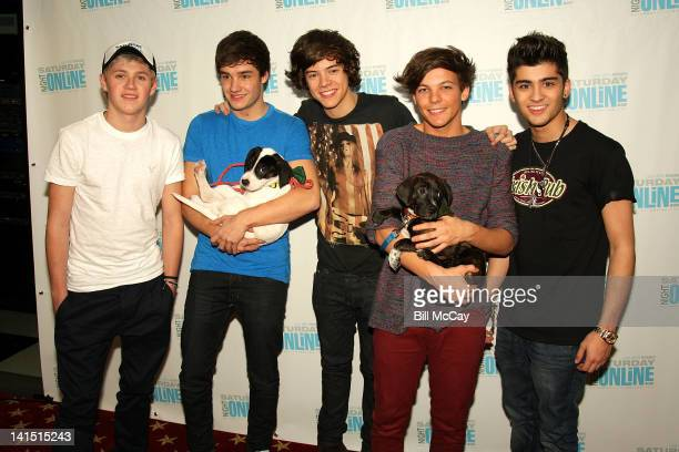 Niall Horan, Liam Payne, Harry Styles, Louis Tomlinson and Zayn Malik from the band One Direction pose with puppies from the Delco SPCA at Radio...