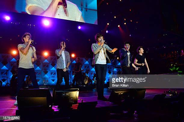 Niall Horan Liam Payne Harry Stylres Zayn Malik and Louis Tomlinson of the group One Direction performs onstage during Z100's Jingle Ball 2012...