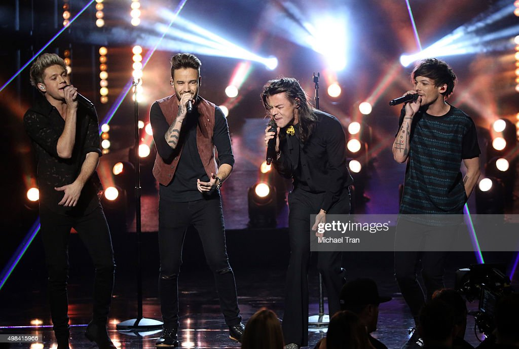 Niall Horan, Liam Payne, Louis Tomlinson and Harry Styles of the band One Direction perform onstage at the 2015 American Music Awards at Microsoft Theater on November 22, 2015 in Los Angeles, California.