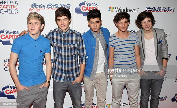 Niall Horan Liam Payne Zayne Malik Louis Tomlinson and Harry Styles of One Direction attend day two of Jingle Bell Ball at O2 Arena on December 4...