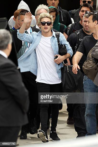 Niall Horan of One Direction arrives in Sydney on November 25 2014 in Sydney Australia