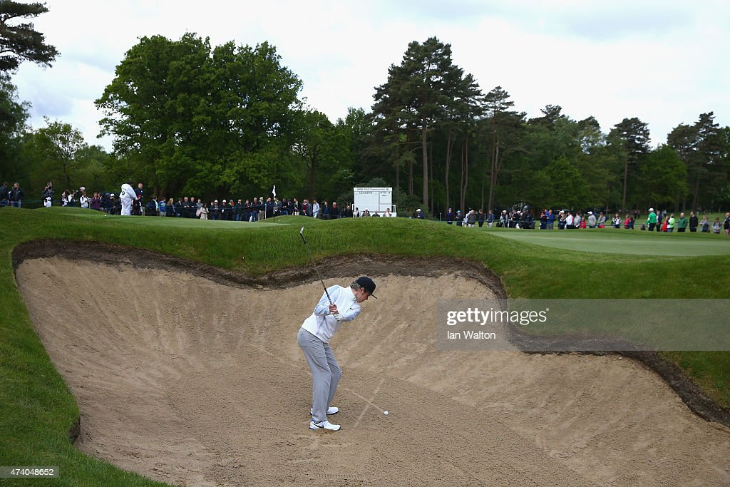 Niall Horan of One Direction hits from a bunker during the Pro-Am ahead of the BMW PGA Championship at Wentworth on May 20, 2015 in Virginia Water, England.