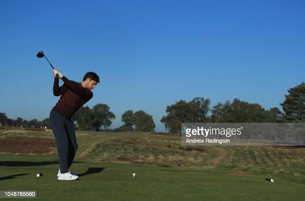 Niall Horan of One Direction in action during the Hero Pro Am prior to the start of the British Masters supported by Sky Sports at Walton Heath Golf...