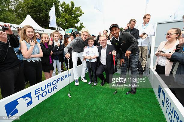 Niall Horan of One Direction Rhys Kiernan The European Tour Chief Executive Keith Pelley and Thongchai Jaidee of Thailand pose at the launch of the...