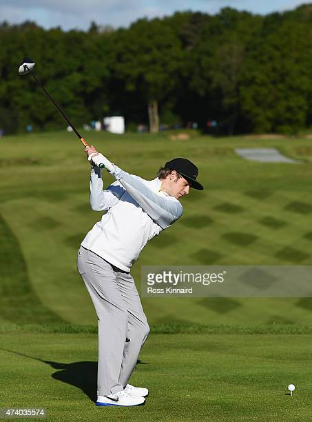 Niall Horan of One Direction tees off on the 1st hole during the Pro-Am ahead of the BMW PGA Championship at Wentworth on May 20, 2015 in Virginia...