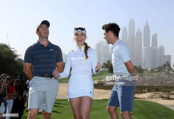 Niall Horan the music artist with Rory McIlroy of Northern Ireland and Paige Spiranac of the United States on the eighth tee during the proam as a...