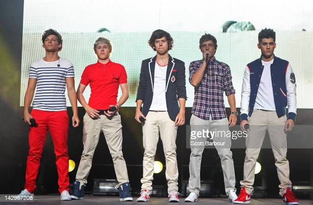 Niall Horan Zayn Malik Liam Payne Harry Styles and Louis Tomlinson of One Direction perform live on stage at Hisense Arena on April 16 2012 in...
