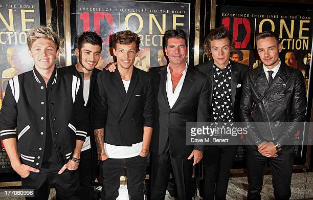 Niall Horan Zayn Malik Louis Tomlinson Simon Cowell Harry Styles and Liam Payne attend the World Premiere of 'One Direction This Is Us 3D' at Empire...