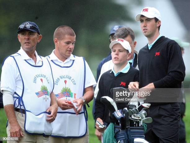 Niall Kearney of Ireland and Stiggy Hodgson of England and Great Britain and Ireland on the tee at the 3rd hole during the morning foursome matches...