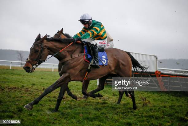 Niall Madden riding Canelie clear the last to win The Greenslade Taylor Hunt Handicap Hurdle Race at Taunton racecourse on January 9 2018 in Taunton...