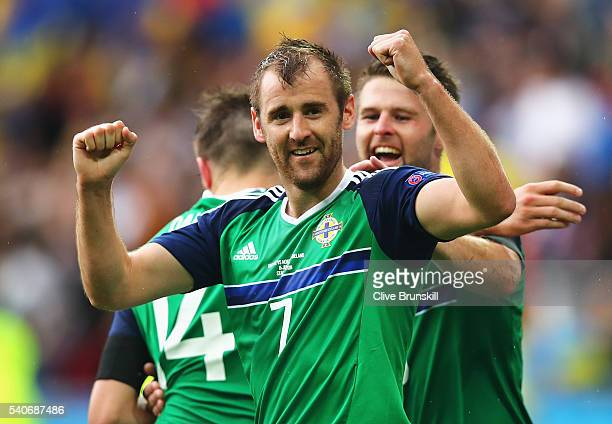 Niall McGinn of Northern Ireland celebrates scoring his team's second goal during the UEFA EURO 2016 Group C match between Ukraine and Northern...