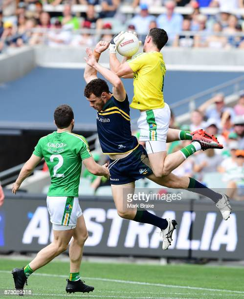 Niall Morgan Irelands goal keeper marks over Luke Shuey of Australia during game one of the International Rules Series between Australia and Ireland...