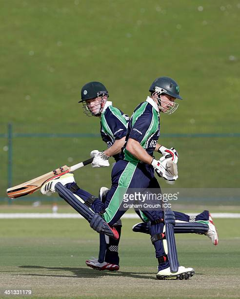 Niall O'Brien and Gary Wilson of Ireland running between the wickets during the Uganda v Ireland match at the ICC World Twenty20 Qualifiers at the...