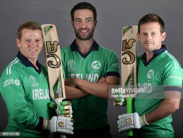 Niall O'Brien Andrew Balbirnie and Ed Joyce of Ireland poses for a picture during the Ireland Portrait Session for the ICC Cricket World Cup...