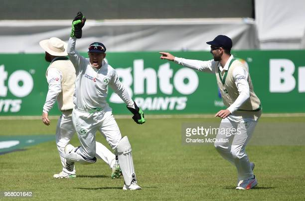 Niall O'Brien celebrates his catch off Faheem Ashraf of Pakistan during the third day of the test cricket match between Ireland and Pakistan on May...