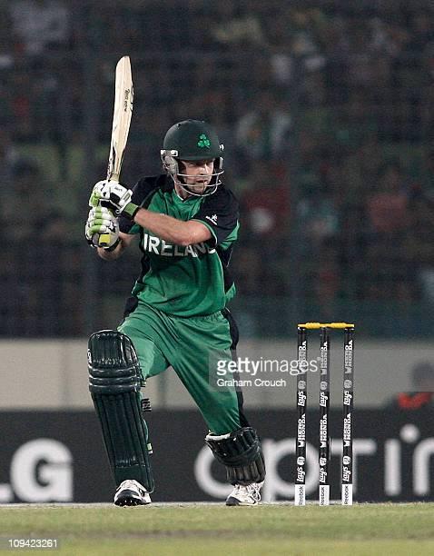 Niall O'Brien of Ireland batting during the 2011 ICC World Cup Group B match between Bangladesh and Ireland at ShereeBangla National Stadium on...