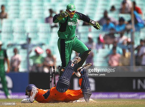 Niall O'Brien of Ireland celebrates after running out Atse Buurman of the Netherlands during the 2011 ICC World Cup match between Ireland and...