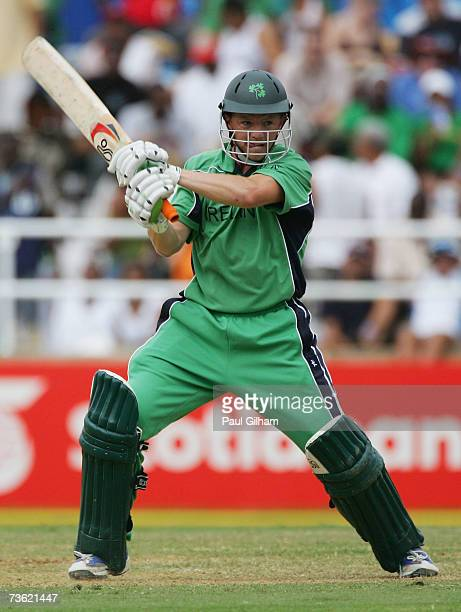 Niall O'Brien of Ireland hits out on his way to making fifty runs during the ICC Cricket World Cup 2007 Group D match between Ireland and Pakistan at...