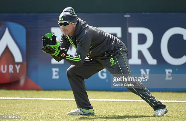 Niall O'Brien of Ireland takes part in a wicketkeeping drill during a nets session on May 7 2015 in Malahide Ireland
