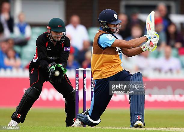 Niall O'Brien of Leicestershire catches Shiv Thakor of Derbyshire off the bowling of Jigar Naik during the NatWest T20 Blast match between...
