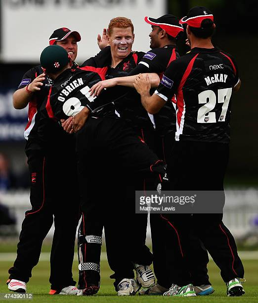 Niall O'Brien of Leicestershire celebratres catching Wes Durston of Derbyshire with his brother Kevin O'Brien during the NatWest T20 Blast match...