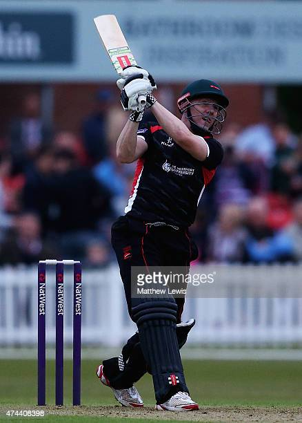 Niall O'Brien of Leicestershire hits a six during the NatWest T20 Blast match between Leicestershire and Derbyshire at Grace Road on May 22 2015 in...