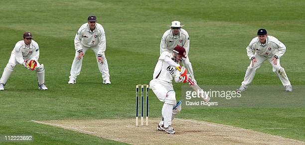 Niall O'Brien of Northamptonshire hits a four during the LV County Championship Division Two match between Northamptonshire and Kent at the County...