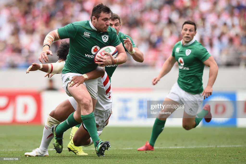 Niall Scannell of Ireland runs with the ball during the international rugby friendly match between Japan and Ireland at Ajinomoto Stadium on June 24, 2017 in Tokyo, Japan.